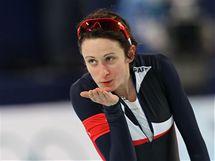 Martina Sáblíková po dojetí závodu na 3000 metrů na ZOH ve Vancouveru.
