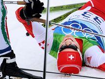 Vyčerpaný vítěz závodu na 15 km volnou technikou Švýcar Dario Cologna. (15. února 2010)