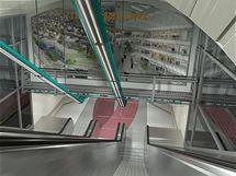 Vizualizace nové stanice Červený vrch, která bude součástí šestikilometrového prodlouženého úseku na trase A