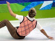 Michal Březina padá ve volné jízdě na olympijských hrách ve Vancouveru