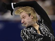 SOUSTŘEDĚNÝ PROJEV. Jevgenij Pljuščenko zvládl krátký program soutěže krasobruslařů na výbornou.