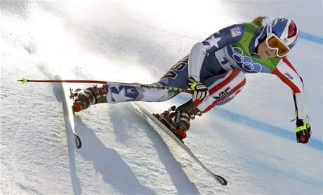 Lindsey Vonnová při olympijském závodě Super-G na ZOH ve Vancouveru.