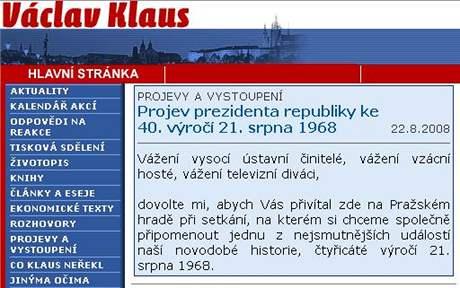 Webové stránky Václava Klause v roce 2003