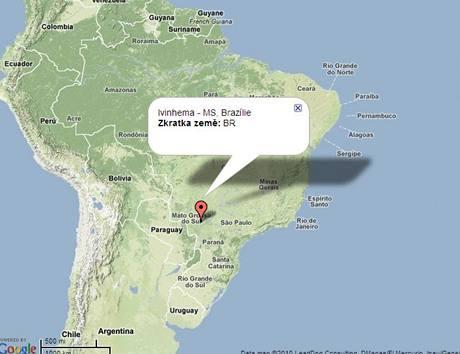Mapa Ivinhema, Brazílie