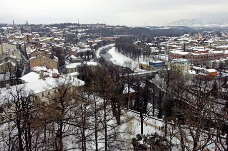 Pohled na Těšín z Piastovské věže.