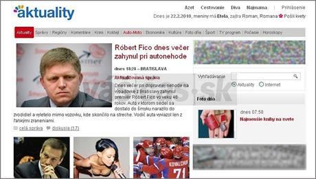 Zpráva o údajné smrti slovenského premiéra Roberta Fica na webu napodobujícím server Aktualne.sk.