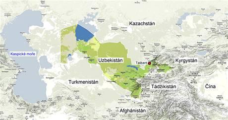 Mapa Uzbekistánu