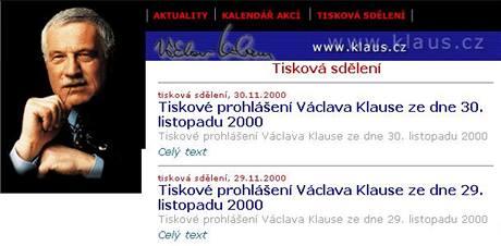 Webové stránky Václava Klause v roce 2000