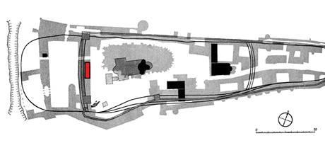 Plán Pražského hradu s vyznačením opevnění a místa současného výzkumu