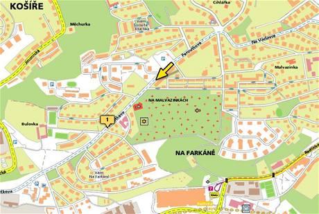Nehoda vodovodu na Malvazinkách, mapa