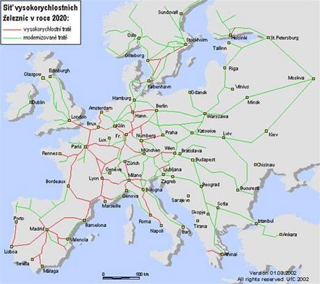 Plánovaná síť evropské vysokorychlostní železnice