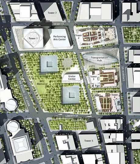 Mapa, jak to bude v budoucnu vypadat na Ground zero