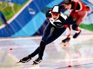 Rychlobruslařka Martina Sáblíková ve své jízdě při závodě na 1 500 metrů na ZOH ve Vancouveru.