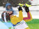 RADOST VÍTĚZKY. Němka Maria Rieschová jásá poté, co vybojovala ve slalomu speciál zlatou olympijskou medaili.