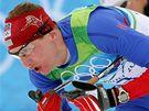Český běžec Lukáš Bauer na trati olympijské klasické padesátky