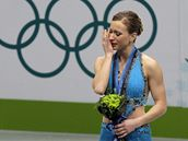 Joannie Rochetteová po olympijském závod� ve kterém získala bronz