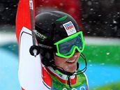 �ESKÝ BRONZ. �árka Záhrobská se v cílovém prostoru raduje ze t�etího místa ve slalomu speciál.