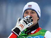 Radost české slalomářky Šárky Záhrobské z třetího místa v olympijském závodě.