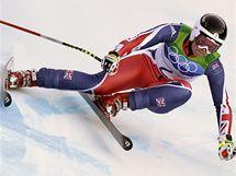 Chemmy Alcottová při své jízdě v olympijském závodě Super-G.