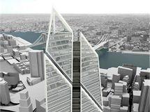 Vizualizace, jak bude v budoucnu vypadat Ground Zero na Manhattanu v New Yorku.