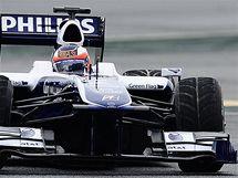 Rubens Barrichello s Williamsem při testech v Barceloně