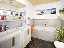 V koupelně dosáhl architekt maximálního efektu s minimálními prostředky. Šedý obklad formátu 10 x 10 cm a jednoduchý koupelnový nábytek z IKEA nestály mnoho peněz a jsou nadčasové