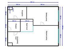 Plánek bytu 2+kk po proměně s vytvořením spacího koutu
