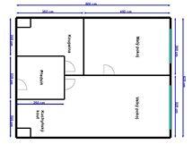 Plánek bytu 2+kk před proměnou