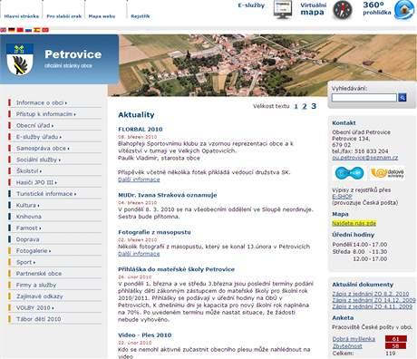 Webové stránky obce Petrovice na Blanensku