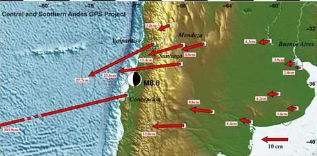 Šipky vektorově ukazují, jaké místo Jižní Ameriky se o kolik posunulo při chilském zemětřesení.