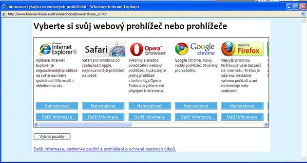 Výb�r prohlí�e�e ve Windows prost�ednictvím tzv. ballot screen