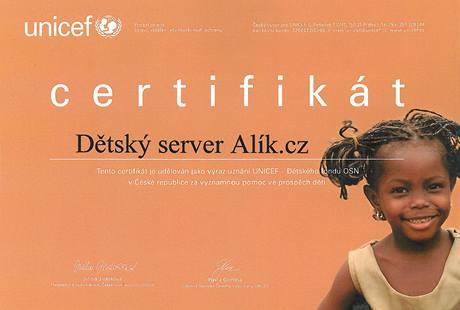 Certifikát, který obdržel server Alík.cz od Českého výboru pro UNICEF.