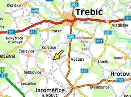 mapa - nehoda na přejezdu v Horním  Újezdě