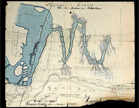 Podrobná mapa Viktoriiných vodopádů na řece Zambezi, jak si jí kolem roku 1886 zakreslil cestovatel Emil Holub.