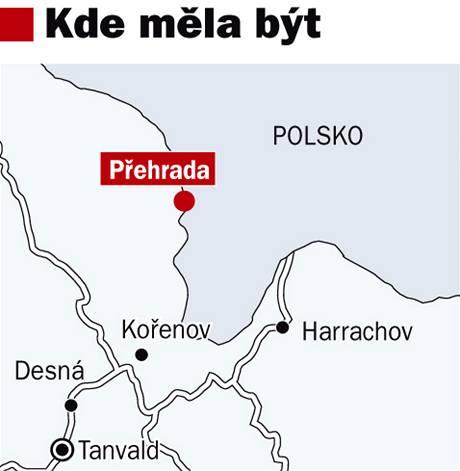 Mapa, kde měla přehrada Karlov být.