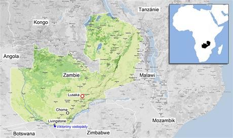 Mapa Zambie