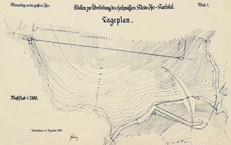 Detail Matouschkovy mapy přehrady z roku 1927