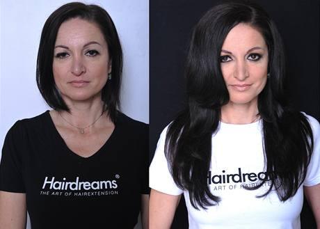 Paní Tereza z Prahy před a po prodloužení vlasů metodou Hairdreams