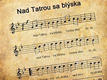 Text slovenské státní hymny Nad Tatrou sa blýska. Ilustrační foto