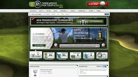Hlavní menu v Tiger Woods Online