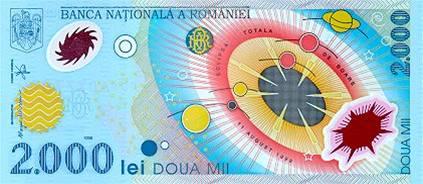 Plastová bankovka - rumunský leu