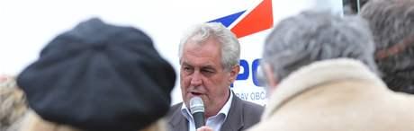 Miloš Zeman na předvolebním mítinku v Boskovicích
