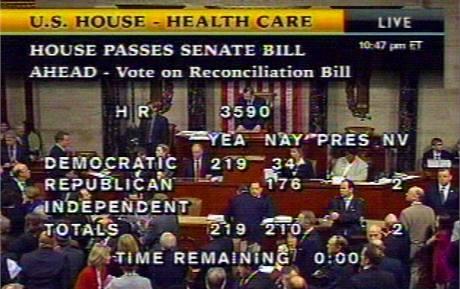 Výsledky hlasování o zdravotní reformě ve Sněmovně reprezentantů (21. března 2010)