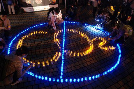 Hodina Země - protestní nápis z LED svítidel v tchajwanském Tchaj-pej (27. března 2010)