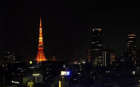 Hodina Země - Tokio Tower v japonské metropoli zhasla o chvíli později než jiné budovy (27. března 2010)