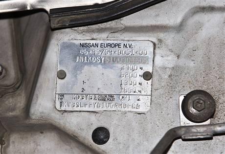 VIN kód omlazeného Nissanu