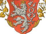 Znak českých zemí - stříbrný lev v červeném poli