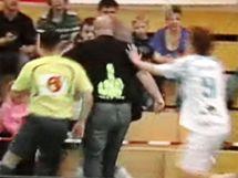 Incident ve Vítkovicích: Útočník Petr Novotný z Boleslavi (vpravo) se chystá bránit svého spoluhráče před jedním z diváků