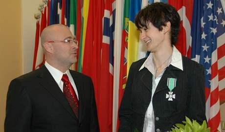 Martina Sáblíková a ministr obrany Martin Barták