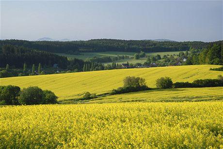 Pohled od Pece k jihovýchodu (v pozadí Velký Javor)